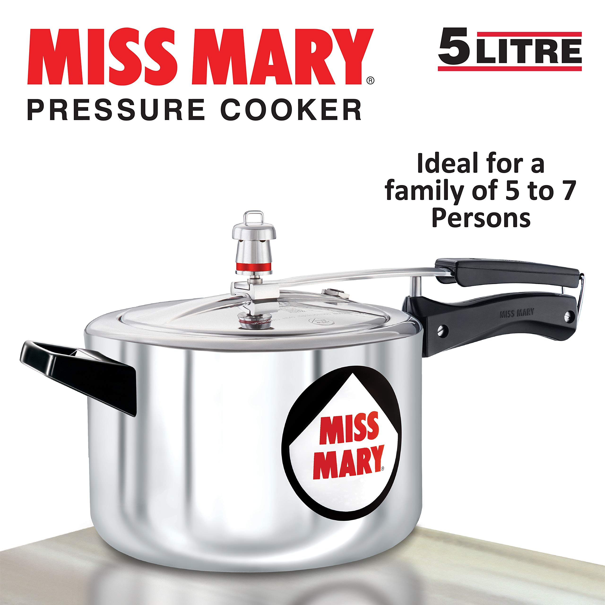 Hawkins Miss Mary Aluminium Pressure Cooker, 5 litres, Silver product image