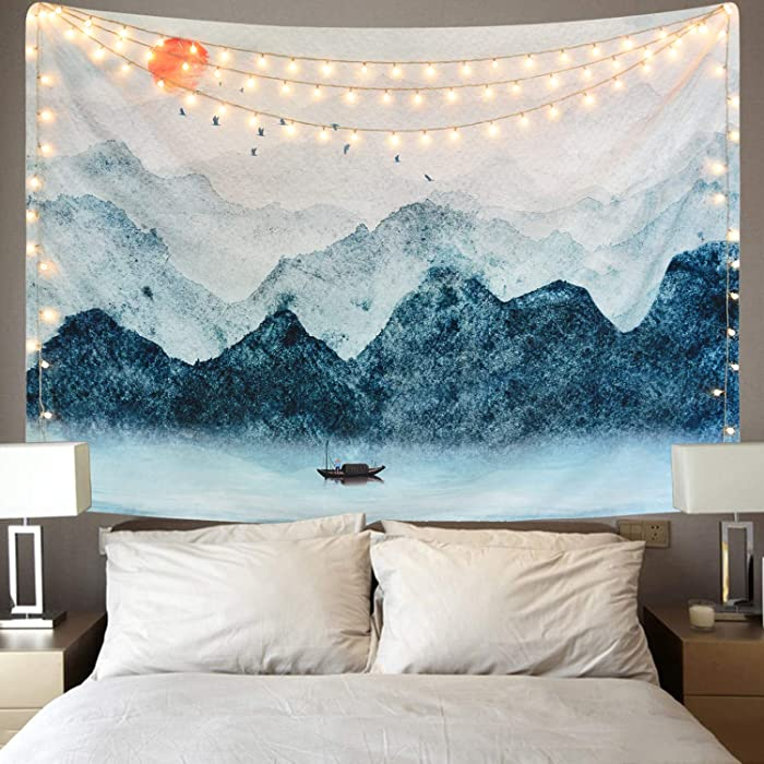 Sevenstars Foggy Mountain Tapestry Sunset Birds Boat Lake Tapestry Watercolor Nature Landscape Tapestries Wall Hanging for Room (59.1 x 82.7 inches)