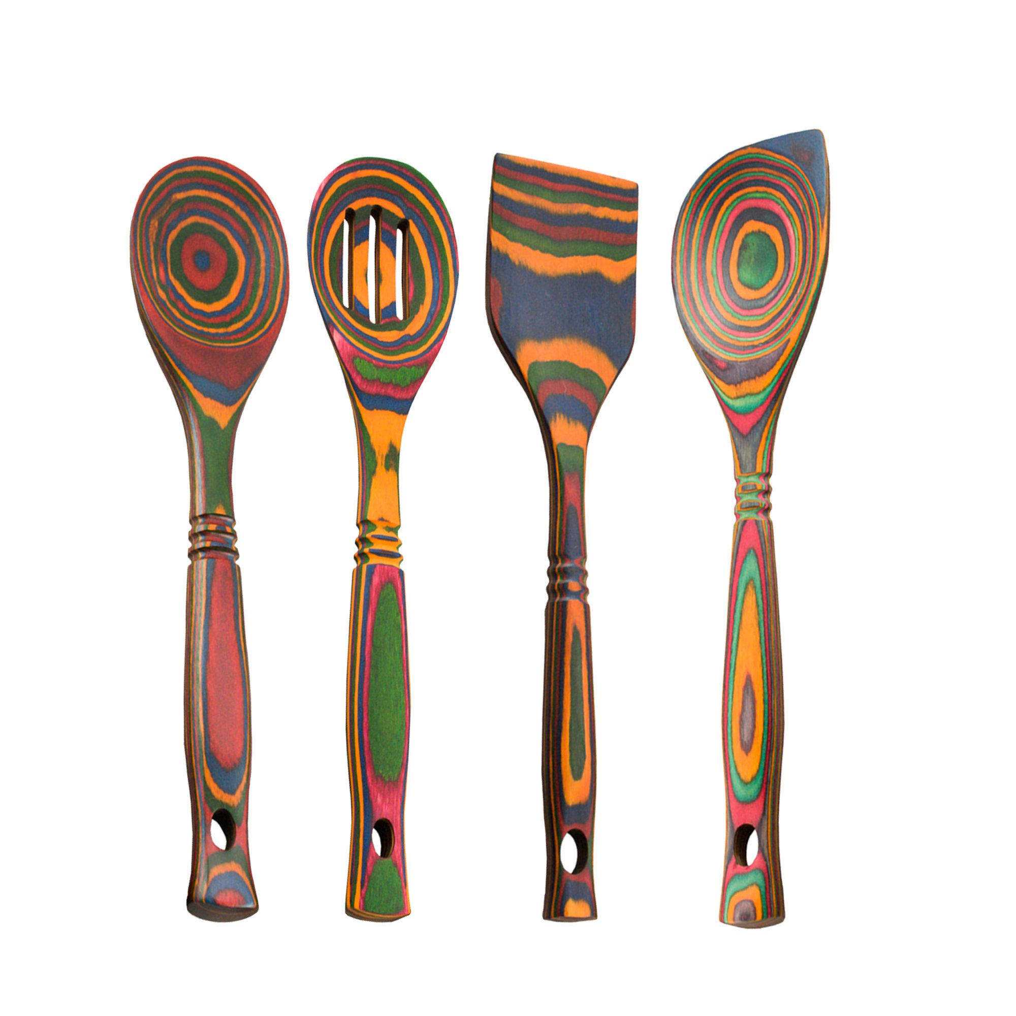 Island Bamboo Rainbow Pakkawood 12'' Wooden Spoon Set of 4 with Standard Spoon, Slotted Spoon, Corner Spoon, and Straight-Edge Spatula