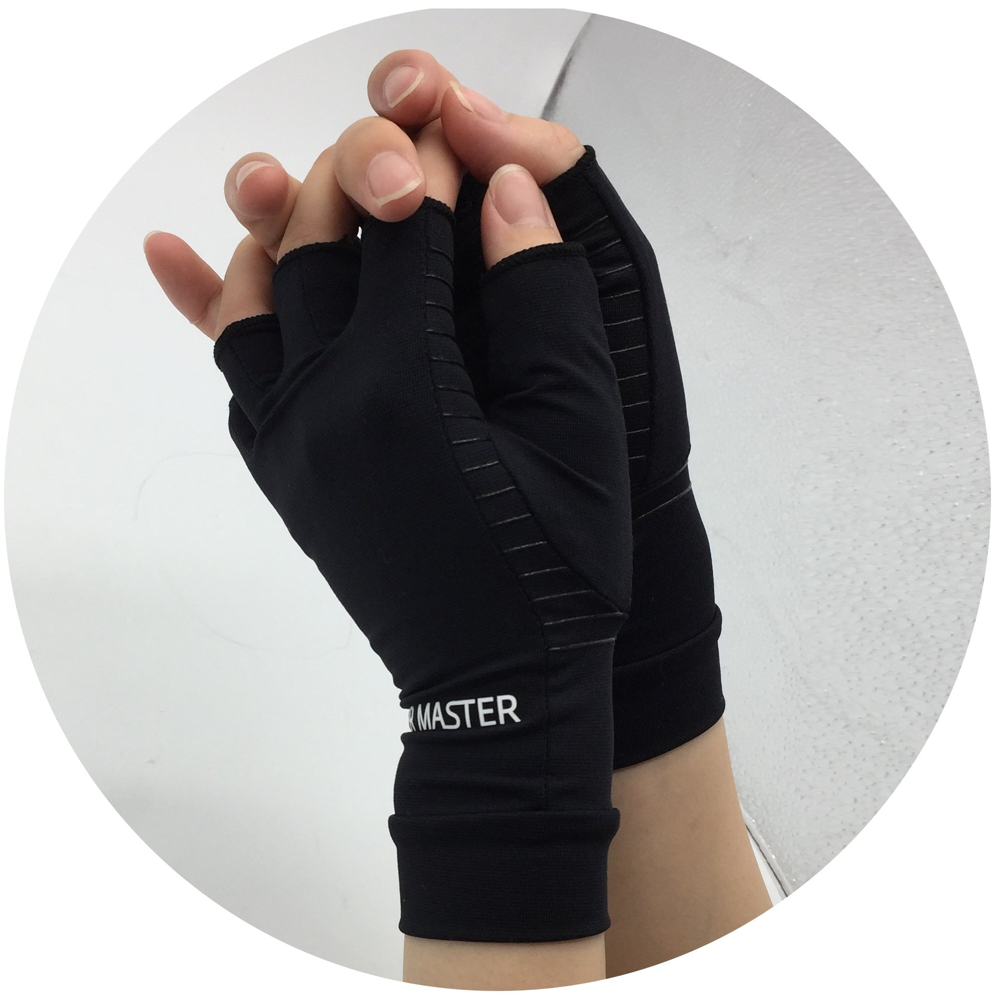 Arthritis Gloves Women- Copper Gloves For Men- Compression Gloves Recovery & Relieve For Arthritis, RSI, Carpal Tunnel, Swollen Hands, Tendonitis, Everyday Support & More- Fingerless Gloves/ Black/ L by Highcamp (Image #8)