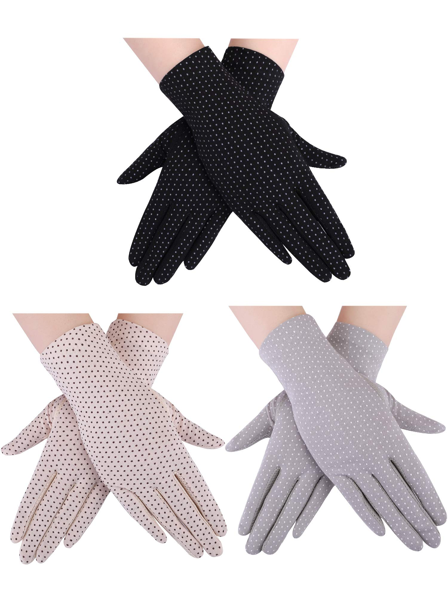3 Pairs Women Sun Protective Gloves UV Protection Sunblock Gloves Touchscreen Gloves for Summer Driving Riding (Color Set 2)