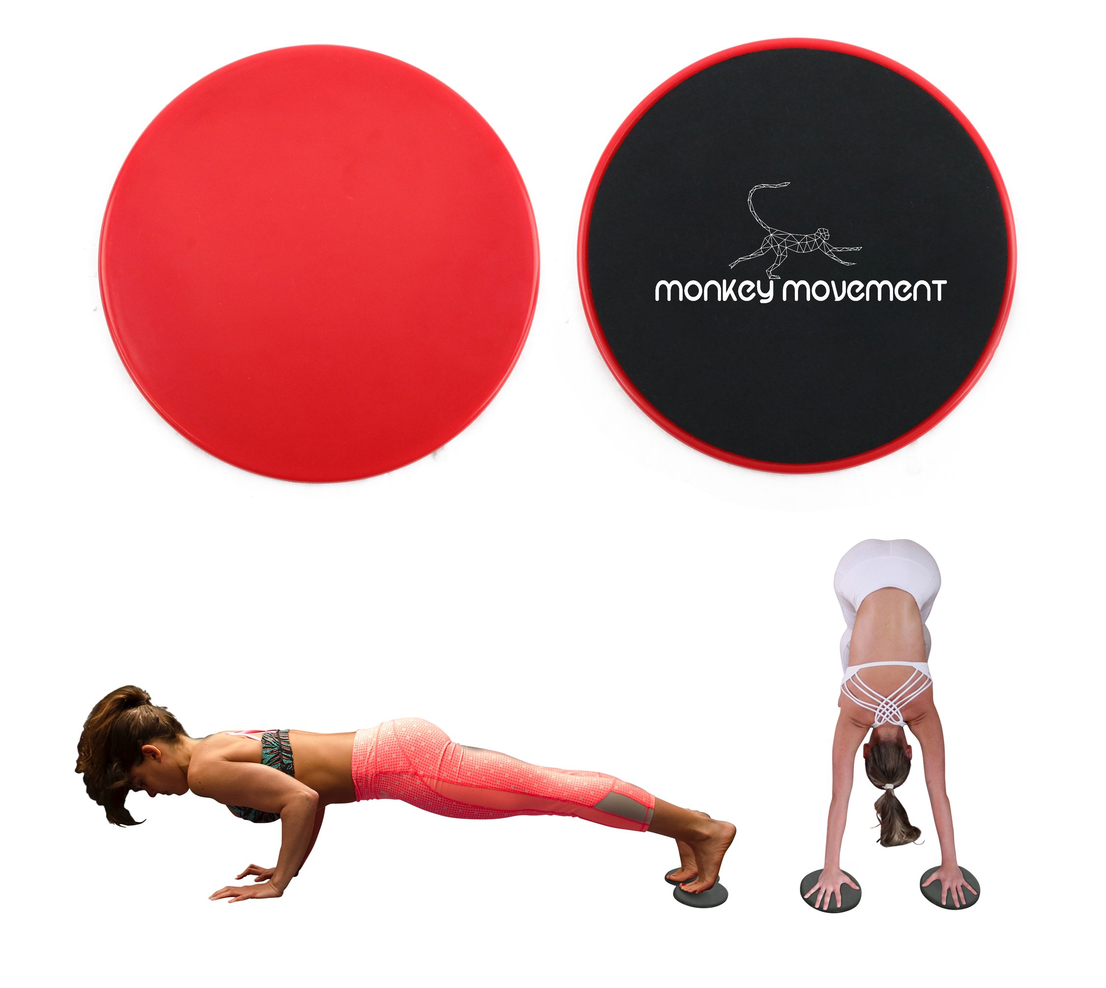 Exercise Sliders Fitness Discs - Workout Equipment for Legs, Glutes, Butt, Abs - Perfect Portable Glider for Strength Workouts at Home or Travel - Works on Carpet, Hardwood, Tiles
