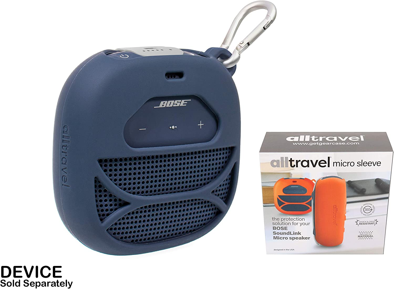 Shake and Drop Customized Silicon Skin for Bose SoundLink Micro Free Carabiner for Easy Carrying Full Protection Cover from Shock Portable Outdoor Speaker by alltravel