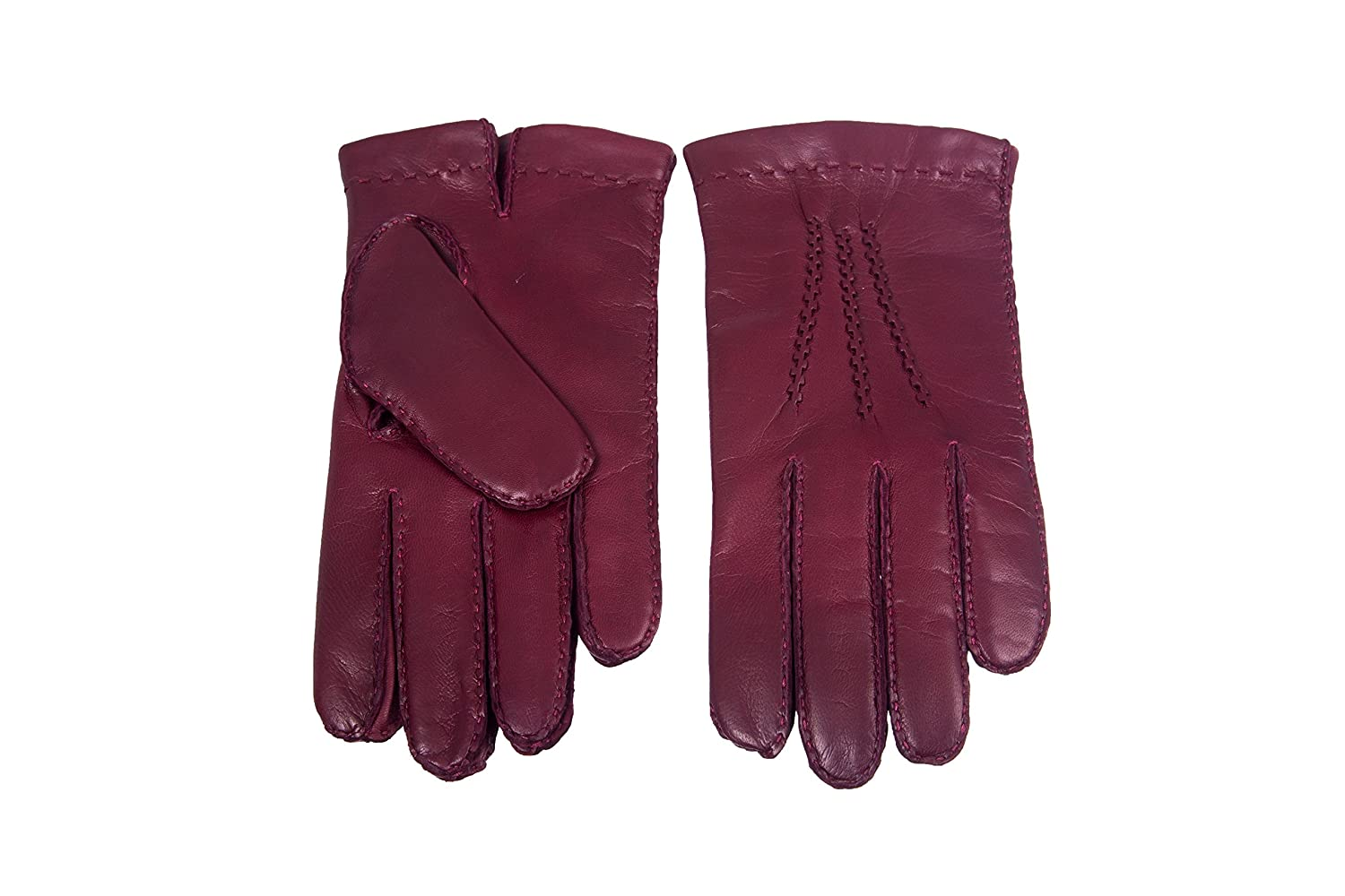 Mens Leather Gloves Cashmere lined Lambskin Hand Sewn Burgundy