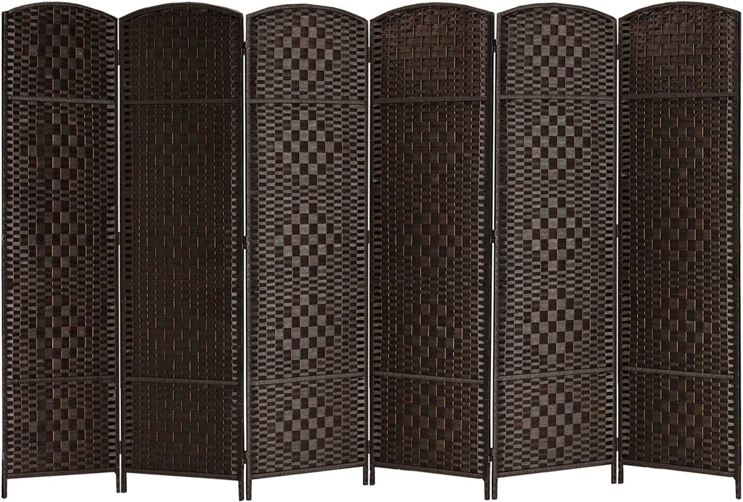 "Room Dividers, 6Ft. Tall Extra Wide 19"" Woven Fiber Folding Privacy Screens Panel, Partition & Wall Divider,Space Seperate Decorative Screen Panel,Double Hinged,Freestanding-6 Panel, Dark Coffee"