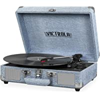 Victrola Vintage 3-Speed Bluetooth Portable Suitcase Record Player with Built-in Speakers | Upgraded Turntable Audio Sound| Includes Extra Stylus | Light Denim Blue Linen