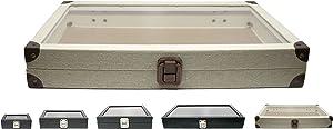 "Novel Box Glass Top Linen Light Beige Metal Clasp Jewelry Display Case 14.75X8.25X2.1"" + Custom NB Pouch"