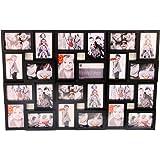 Cadre photo pêle-mêle mural coloris noir capacité 24 photos