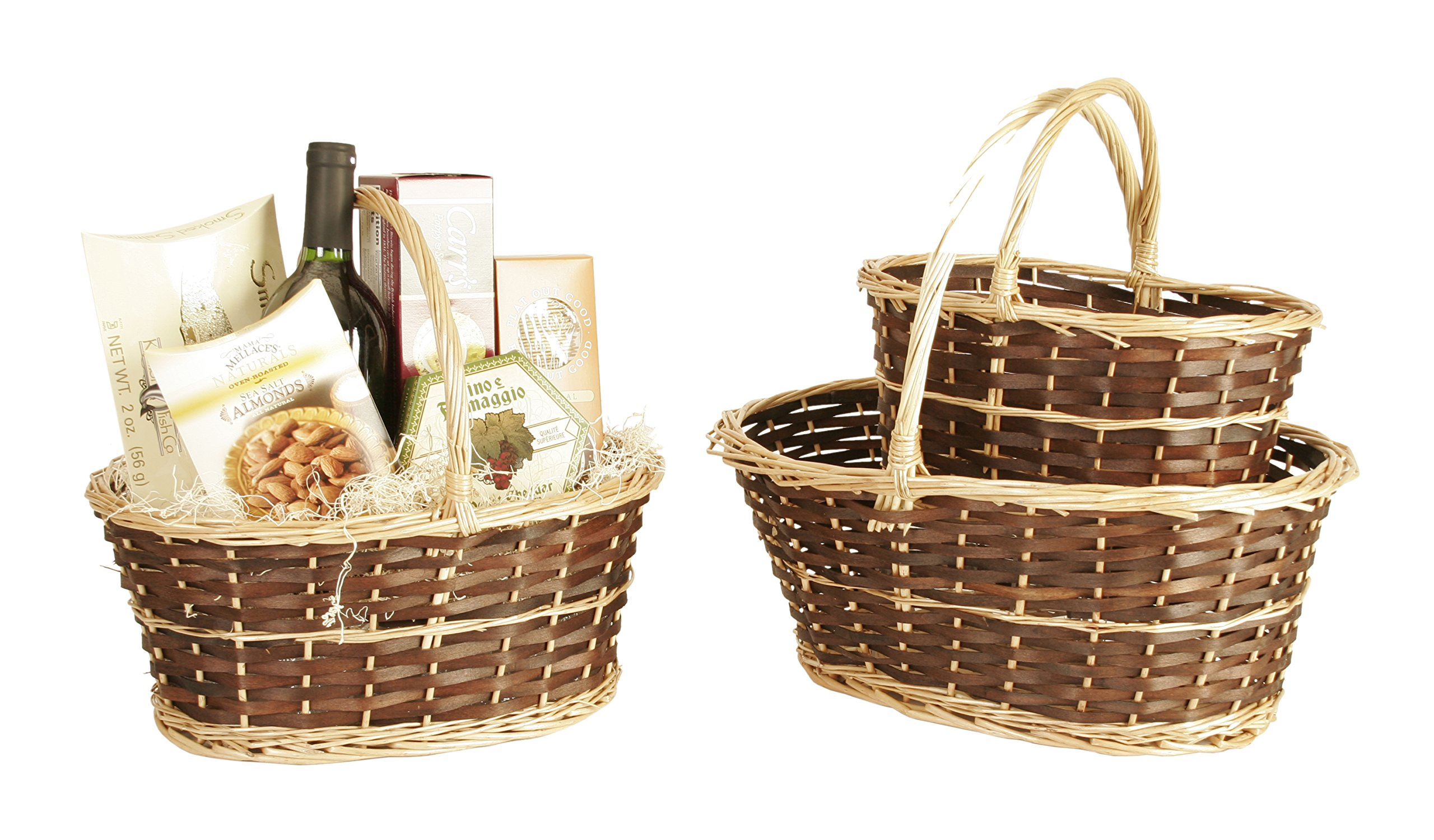 Wald Imports Brown & Beige Willow Decorative Nesting Storage Baskets, Set of 3 - Two-tone willow baskets, dark stained body with natural finish edging & handles Hand woven from natural materials Nested set of 3 baskets - living-room-decor, living-room, baskets-storage - 81NoADE2e3L -