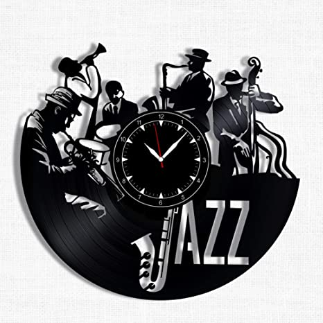 Amazon Com Jazzvinyl Record Clock Wall Clock Jazz Best Gift For Jazz Music Lover Original Wall Home Decor Home Kitchen