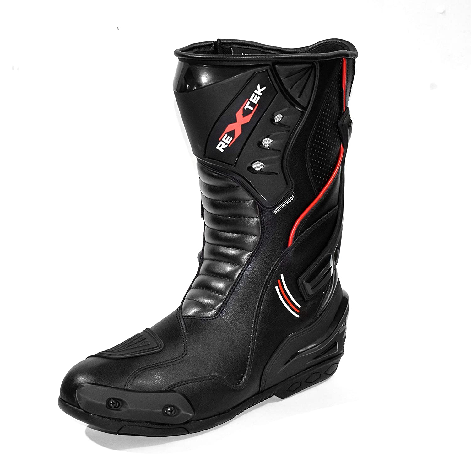 Mens Waterproof Motorbike Motorcycle Armoured Leather Boot Touring Racing Sports Shoes for All Weather with Anti Skid Rubber Sole PROFIRST 10017B UK 11 // EU 45 Full Black