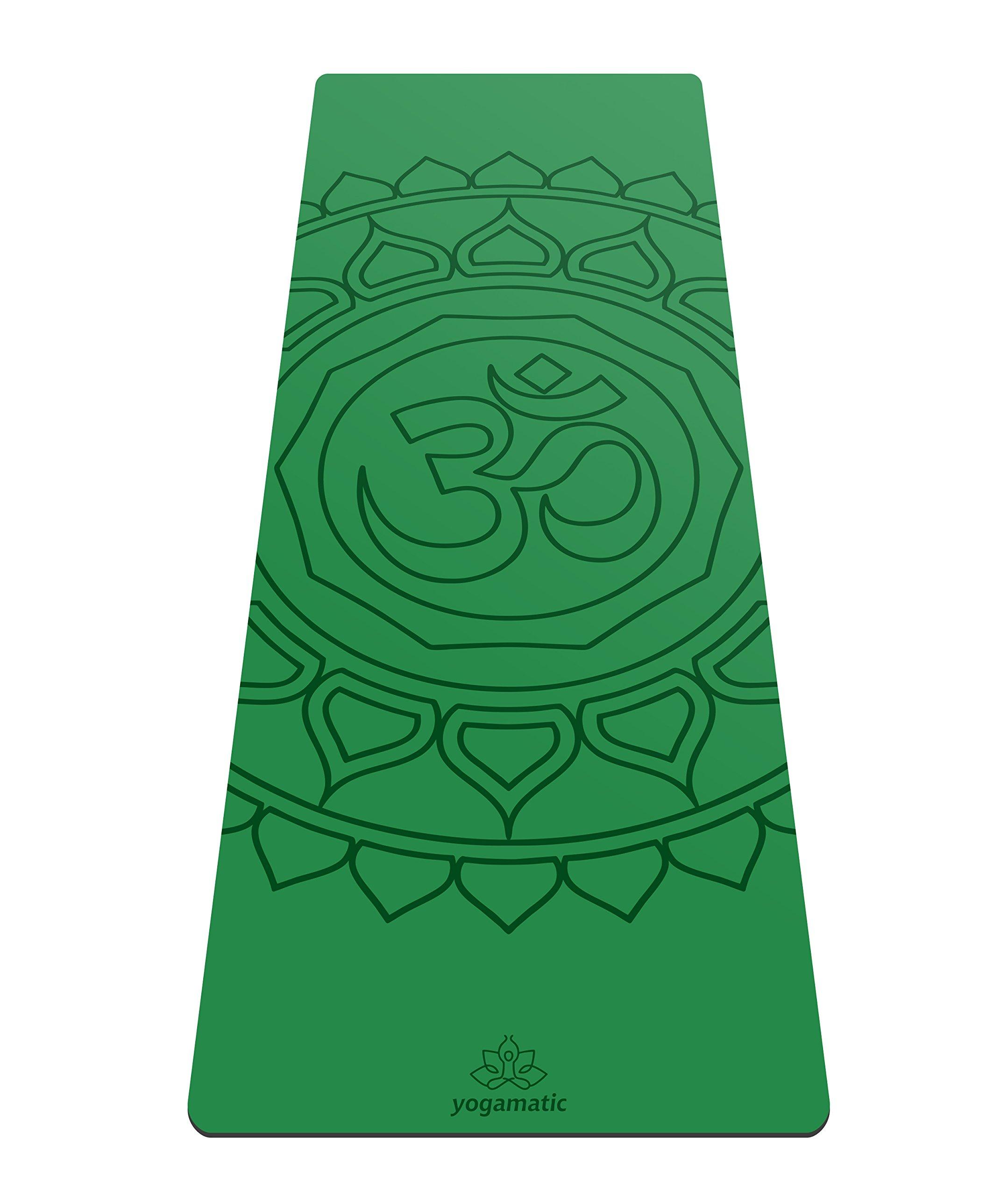 Artmatic Premium Eco Friendly Yoga Mat - Hamsa Grey/Natural Rubber Base + Non Slip top/The Best GripForMe System/with Original Unique Alignment (Om Green)