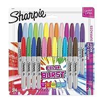 Sharpie 1949557 Color Burst Permanent Marker, Fine Point, Pack of 24, Assorted