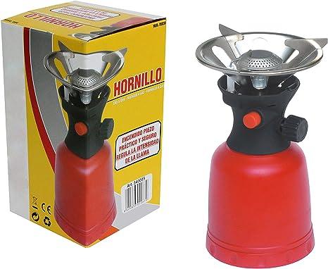 Bcalpe D5030 Hornillo Cartucho Gas piezo, Rojo Y Negro, 11.50x20.00x11.50 cm