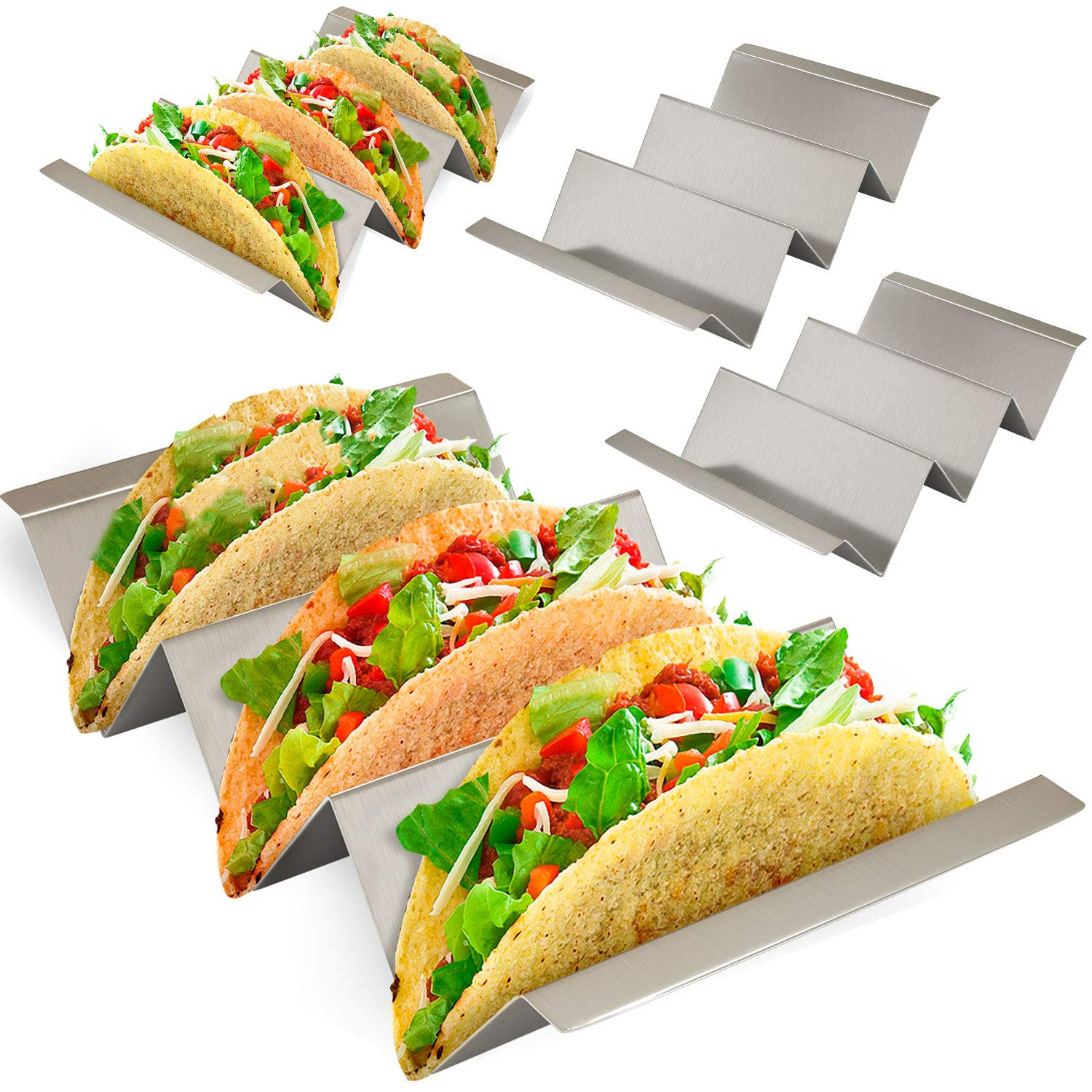 Taco Holder 4 Pack - Stainless Steel Taco Stand with No Slip Side Handles - Serve your Tacos, Fajita Mess Free - Metal Racks Holders for Taco Shell, Tortilla, Burrito And More. Oven And Grill Safe by Ultimate Hostess (Image #1)