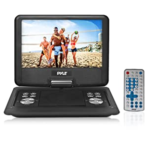 Pyle Portable DVD CD Player - 14 InchHigh Resolution TFT Swivel Angle Foldable Display Screen Built-in Rechargeable Battery USB/SD Card Readers 32GB Memory & Multimedia Support w/ Remote Control - PDH14