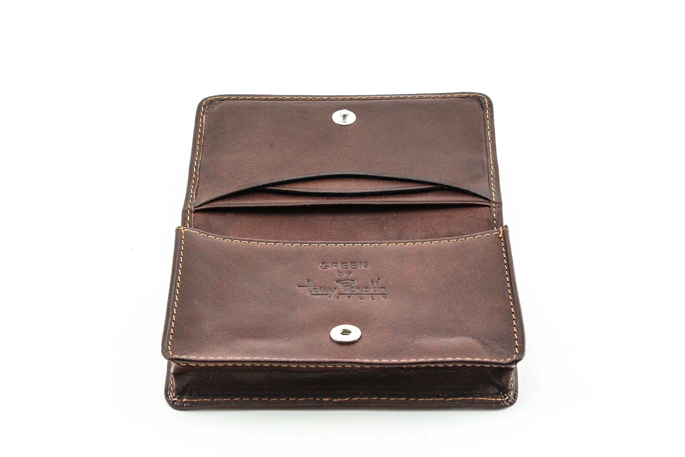 Tony Perotti Italian Cow Leather Front Pocket Business and Credit Card Case Wallet, Brown