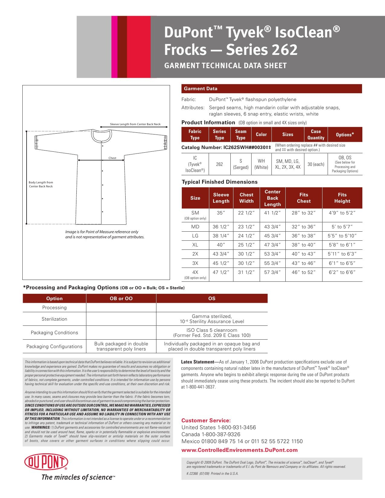 DuPont Tyvek IsoClean IC262S Frock with Snap Closure and Elastic Cuff, White, Large (Pack of 30) by IsoClean (Image #2)