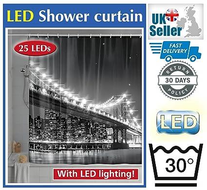 Wenko LED New York Brooklyn Bridge 180 X 200cm World Novelty Shower Curtain Free UK Delivery Amazoncouk Kitchen Home