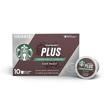 2338292fab6 Starbucks Plus Coffee 2X Caffeine Dark Roast Single Cup Coffee for Keurig  Brewers, 6 Boxes