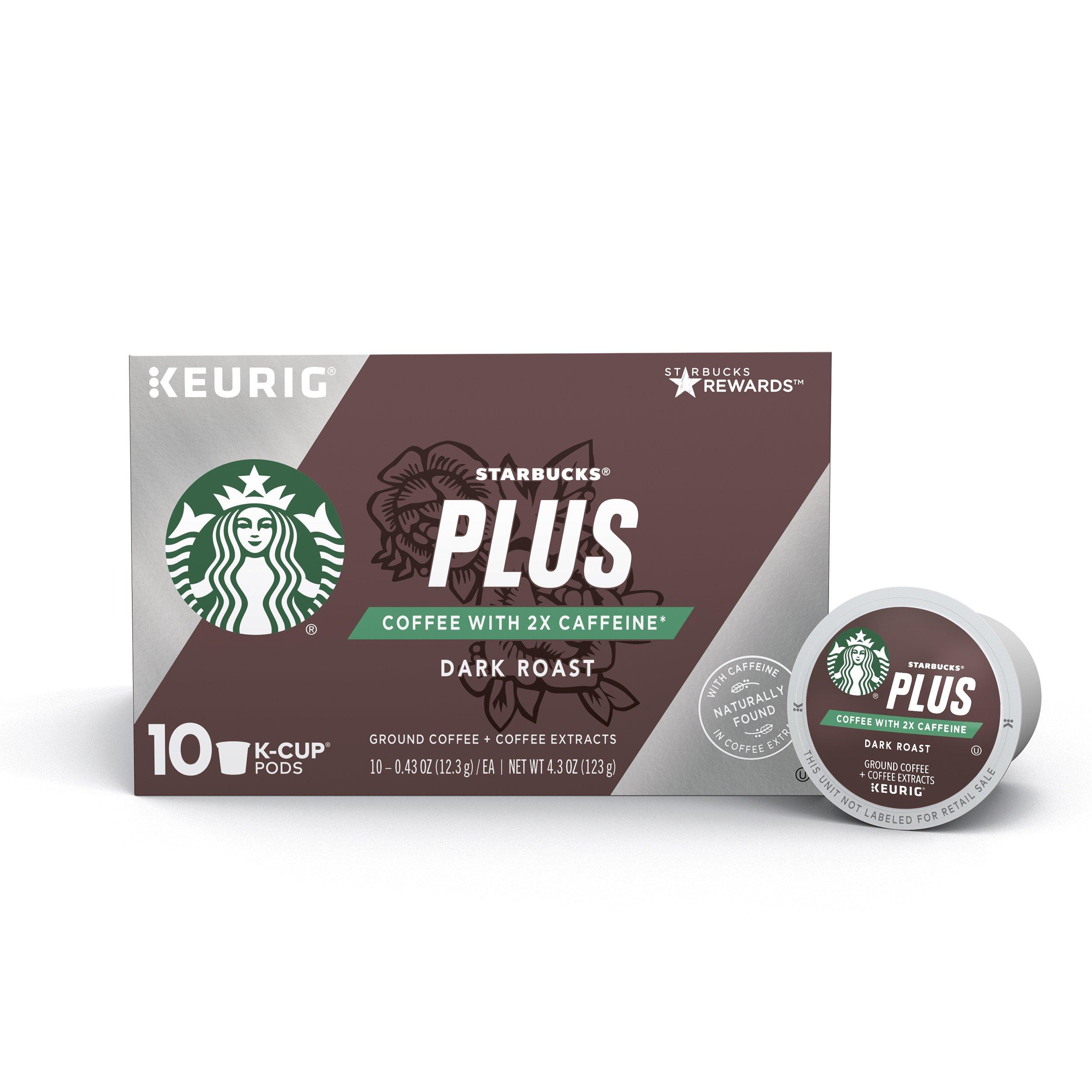 Starbucks Plus Coffee 2X Caffeine Dark Roast Single Cup Coffee for Keurig Brewers, 6 Boxes of 10 (60 Total K-Cup Pods)