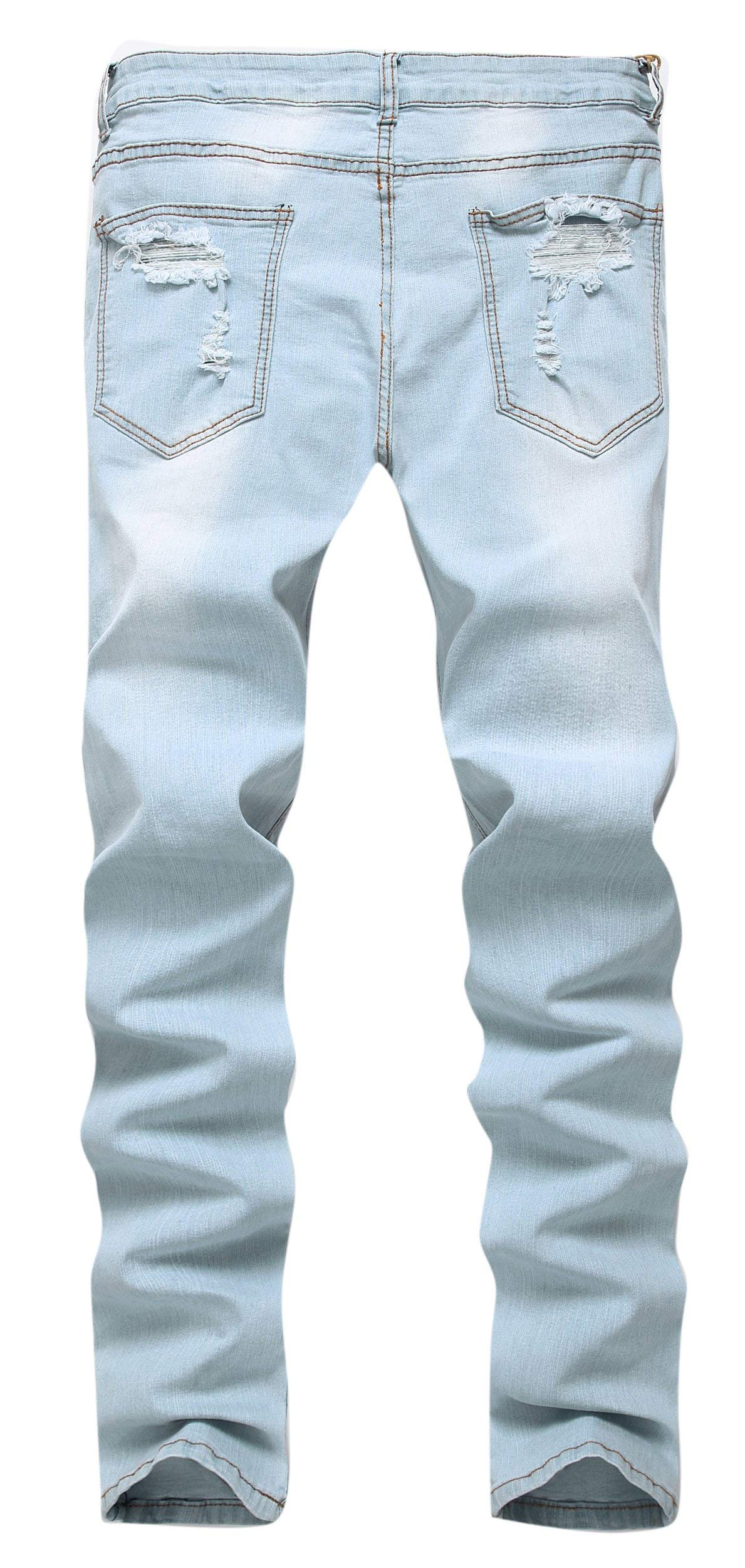 GARMOY Men's Fashion Light Blue Ripped Destroyed Flower Embroidered Skinny Fit Jeans Blue 32 by GARMOY (Image #2)