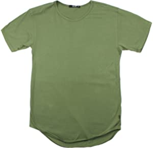 6b5970deb92 New EPTM.Men s Fashion Original Long Curved Hem Scoop Tee T-Shirt ( Olive