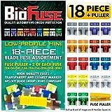 BioFuse Low Profile Mini ATT 18 Piece Automotive Car Fuse Assortment Pack (Set of 18 LP-Mini Blade Fuses + Fuse Puller) 2A 3A