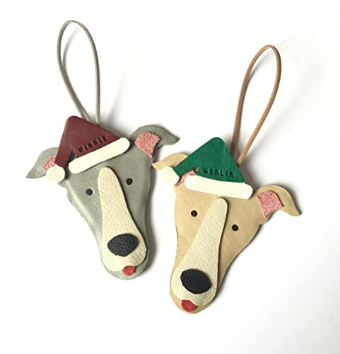 Personalised Greyhound Christmas Ornament Handmade Leather Xmas Decoration  Santa Dog Baubles - Amazon.com: Personalised Greyhound Christmas Ornament Handmade