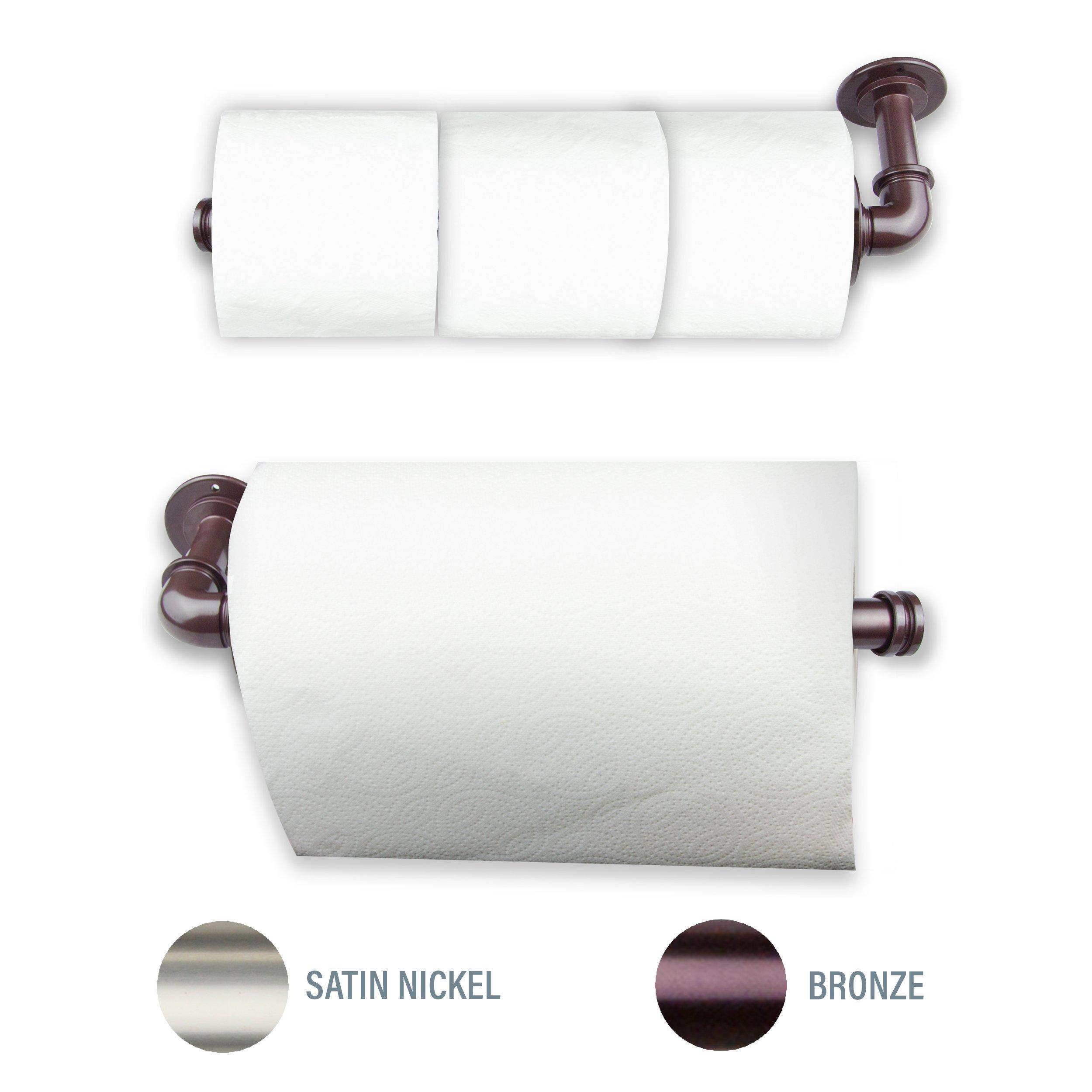 A&F Rod Décor Industrial Pipe Design Triple Toilet Paper Storage/Single Kitchen Towel Holder (1 pc) - Bronze