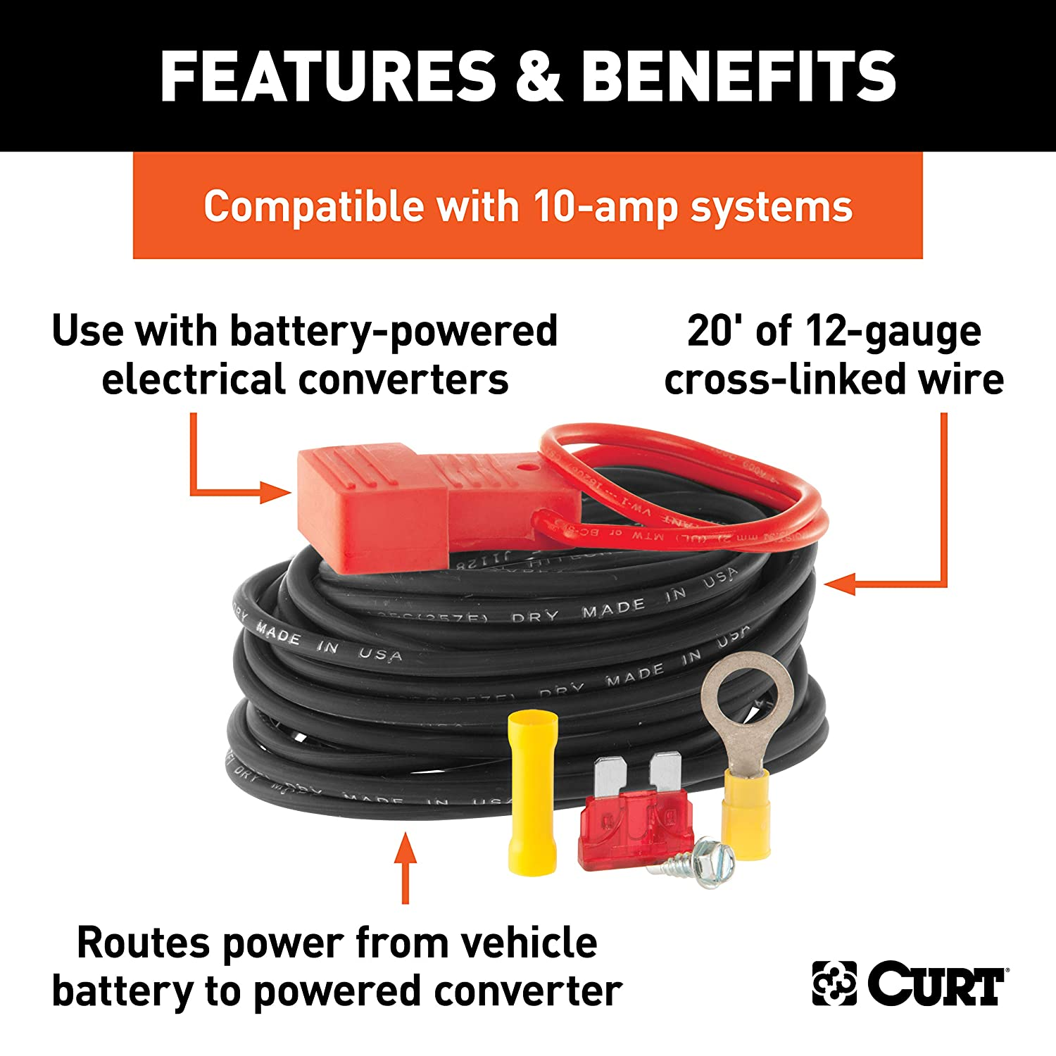 CURT Manufacturing 55151 Powered Wiring Kit for Tail Light Converter 10 Amps