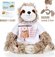 Sloth stuffed animal - The Original I'll Always Hang with you Large Sloths plush animals toy. Sloth gifts w/ Velcro Hands for