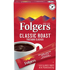 Folgers Classic Roast Instant Single Serve Coffee Packets, 7 ct (Pack of 12), Packaging May Vary