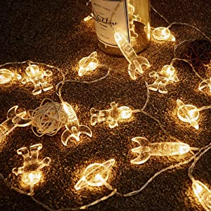 50 LED Children's Room LED String Light Astronaut Spaceship Rocket Pendants Holiday Party Lights Wall Window Nursery or Kids room Decor Wedding Around the Garden Party Patio Christmas (Warm White)