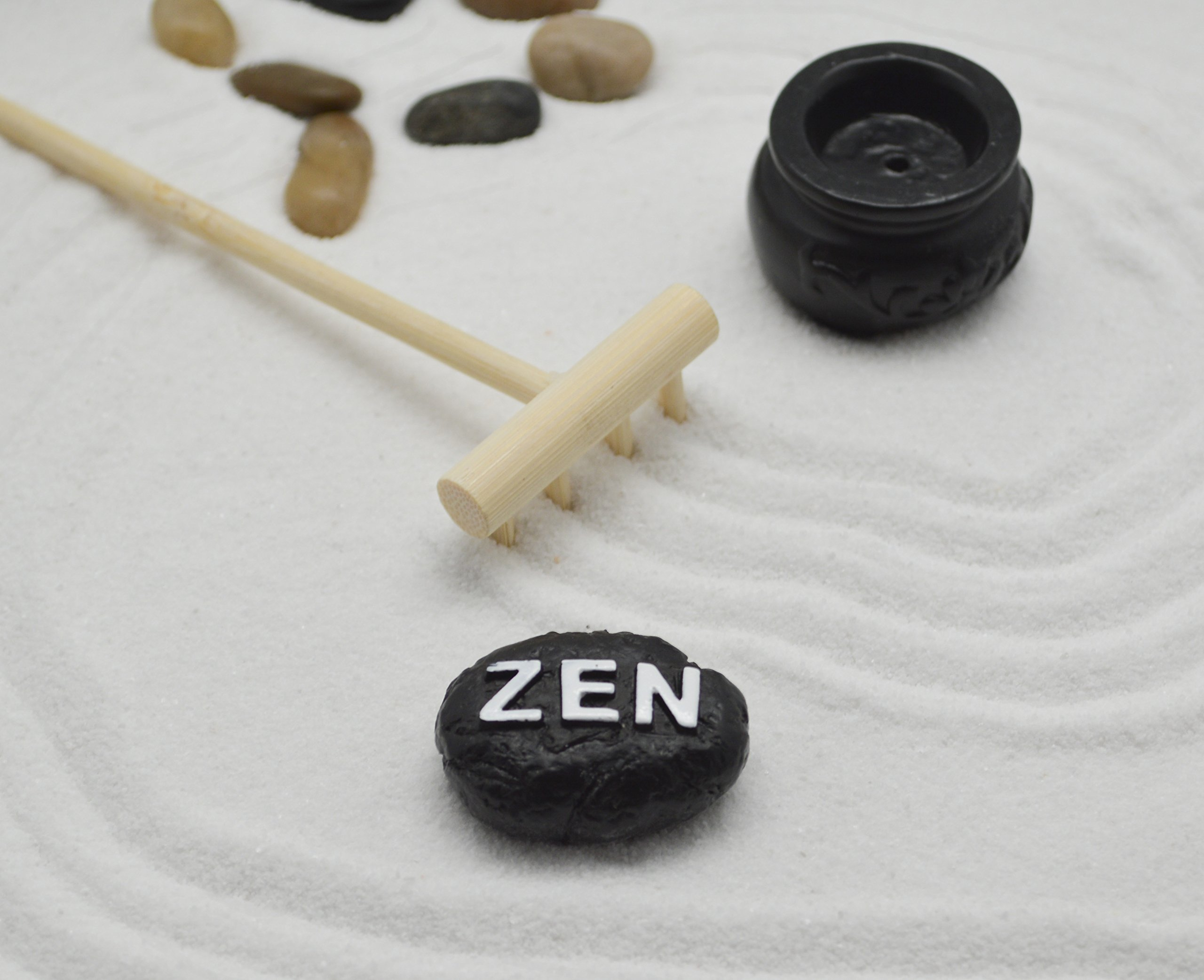 Tabletop Sand Zen Garden with Rocks and rake for Your Desk from Tatum & Shea by Tatum & Shea (Image #2)