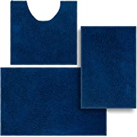 3 Pieces Bathroom Rugs, Anti-Slip Chenille Bath Rug, Super Absorbent Luxury Shaggy Bath Mats Set, Perfect Plush Carpet…