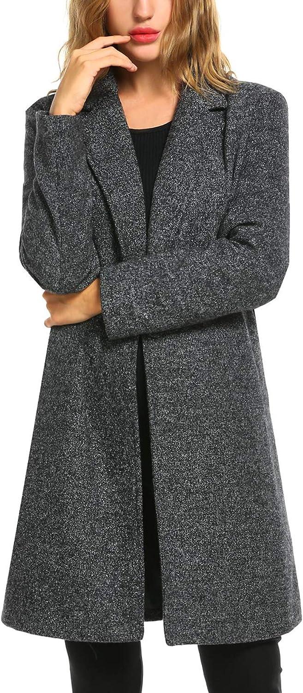 Zeagoo Women's Wool Blend Coat Notch Lapel Single Breasted Outwear Mid Long Pea Coat Jacket: Clothing