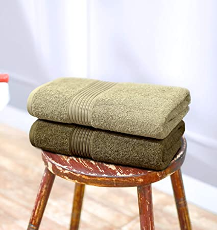 Swiss Republic 600 GSM Made Ring Spun Soft Cotton Doublestitch Line Bath Towels (Fossil & Plaza Taupe) - Set of 2
