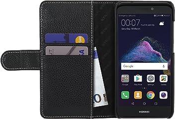 StilGut Talis, housse Huawei P8 lite (2017) avec porte-cartes en cuir véritable. Etui portefeuille à ouverture latérale et fermeture magnétique pour Huawei P8 lite (2017), Noir