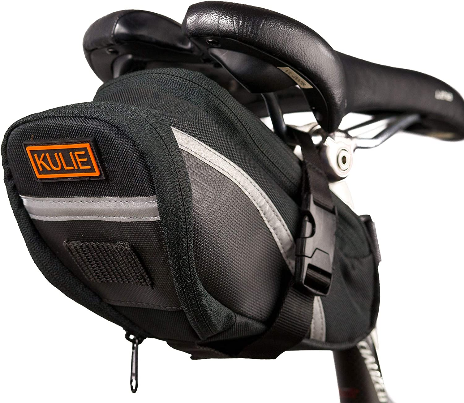 Kulie Bicycle Under Saddle/Seat Bag | Dangle Free Strap-On Mounted Pack | Rattle-Free YKK Zipper | Waterproof | High Visibility 3M Reflector | Uber Light | Tools Tube Fuel Phone