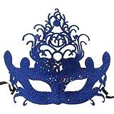 Venezianische Maske / Halbmaske mit Federn und Glamour Glitzer, verschiedene Modelle
