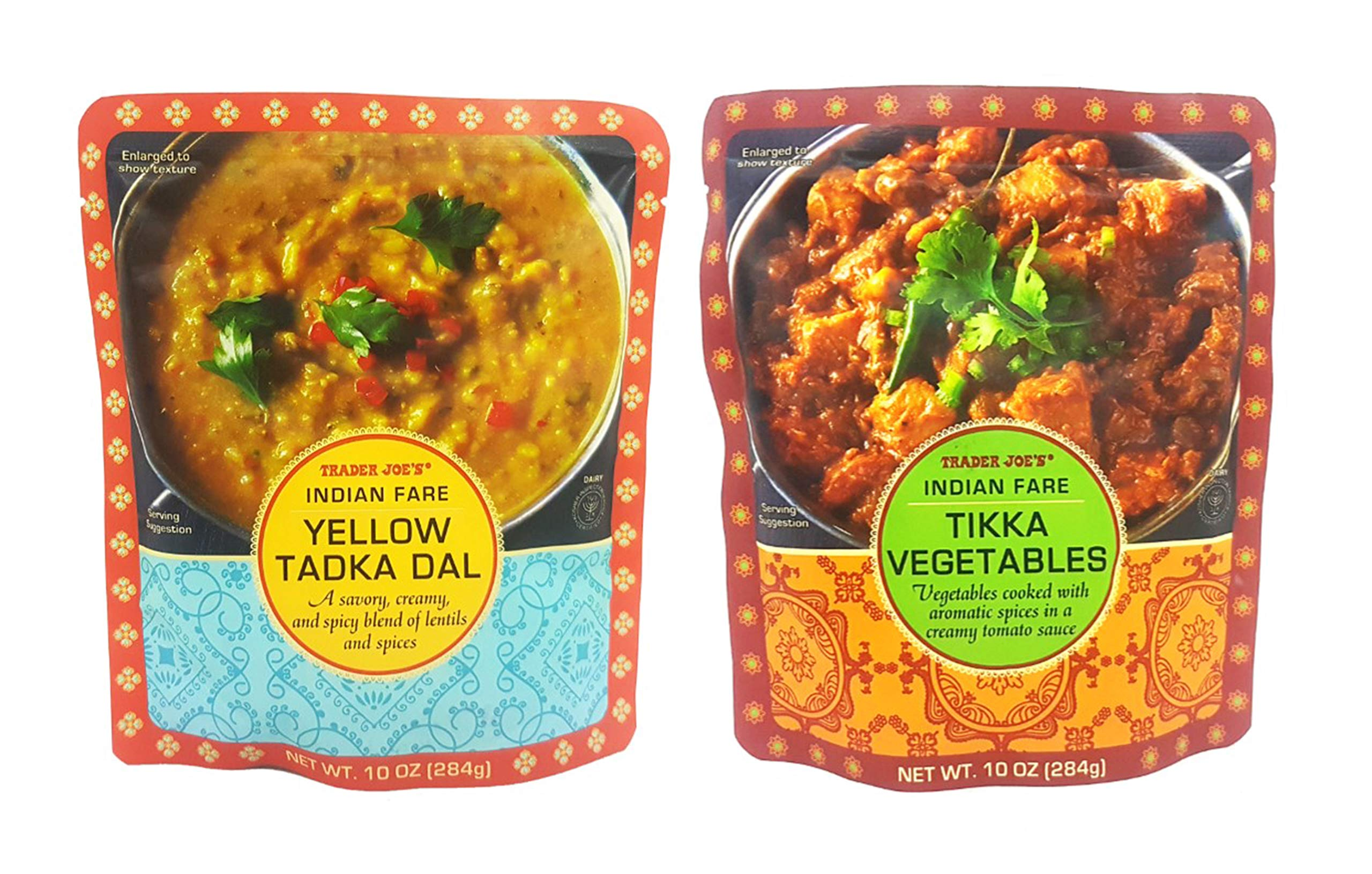 Trader Joe's Indian Fare Combo Yellow Tadka Dal and Tikka Vegetables 10 Oz. (Pack of 2)