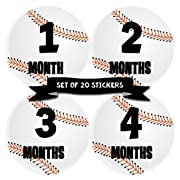 Baby Monthly Milestone Stickers - First Year Set of Baby Boy Month Stickers for Photo Keepsakes - Shower Gift - Set of 20 - Baseball