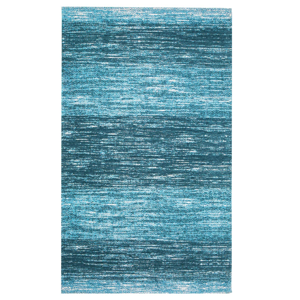 AMIDA – Blue Entryway Rug Washable Non-Slip Backing – 3 5 Contemporary Modern Abstract Stripe Door Mat Turquoise and Dark Green- Flat Weave – Easy Care,Available for Kitchen and Bedroom