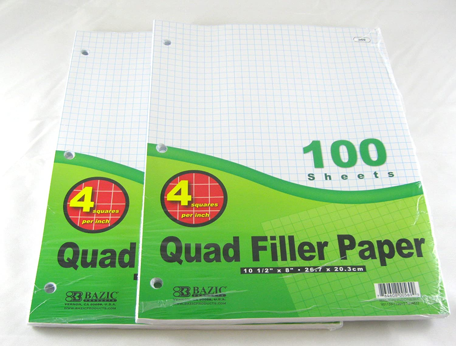 "2 Pk, Bazic 4-1"" Quad Ruled Filler Paper 100 Ct. Per Set"