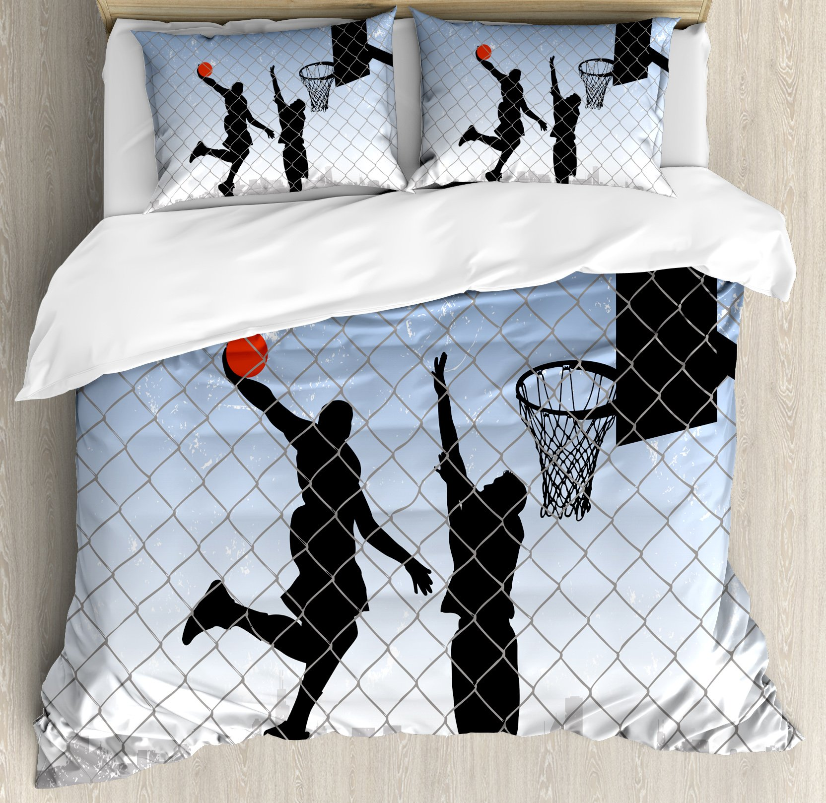 Lunarable Boy's Room Duvet Cover Set Queen Size by, Basketball in the Street Theme Two Players on Grungy Damaged Backdrop, Decorative 3 Piece Bedding Set with 2 Pillow Shams, Pale Blue Grey Black