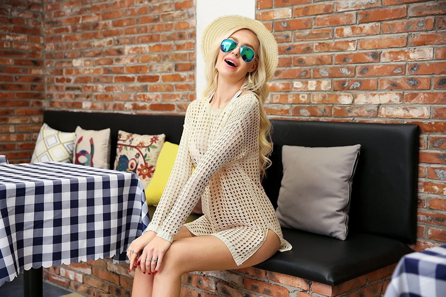 DQdq Womens Kintted Bathing Suit Cover UPS Long Sleeve Hollow Beachwear