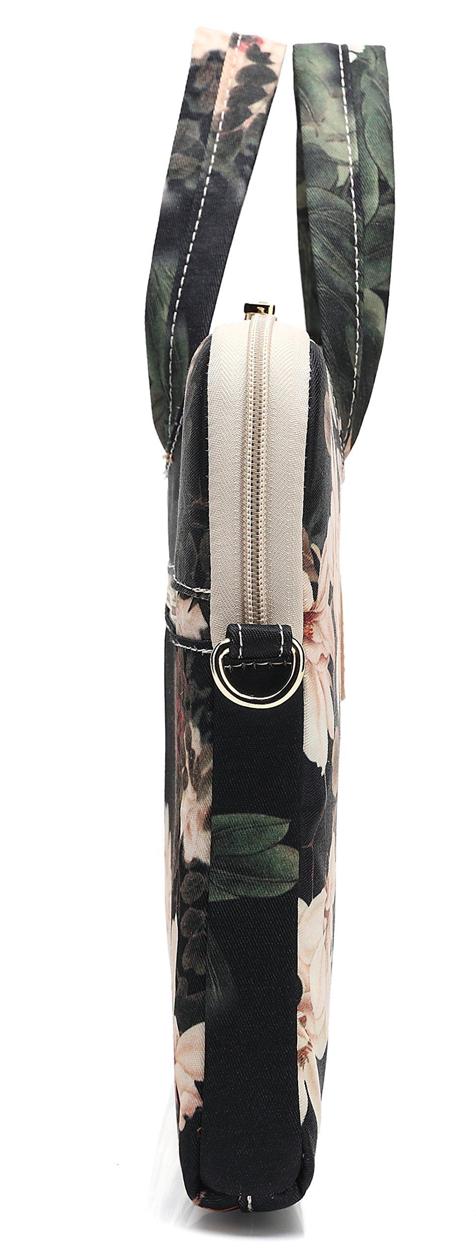 DACHEE Black Peony Patten Waterproof Laptop Shoulder Messenger Bag Case Sleeve for 14 Inch 15 Inch Laptop Case Laptop Briefcase 15.6 Inch by DACHEE (Image #6)