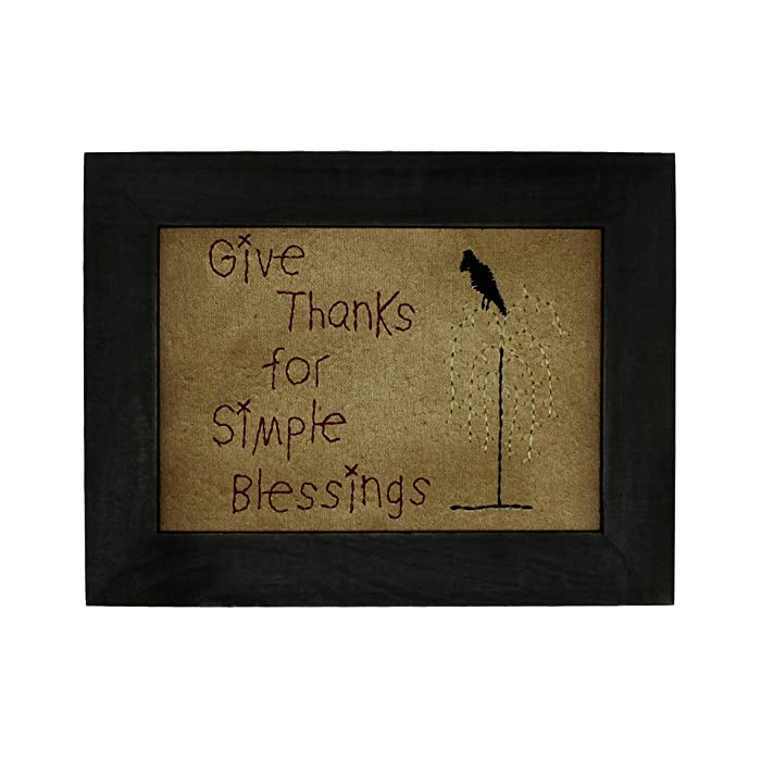 CVHOMEDECO. Primitives Antique Give Thanks for Simple Blessings Stitchery Frame Wall Mounted Hanging Decor Art, 9 x 7 Inch