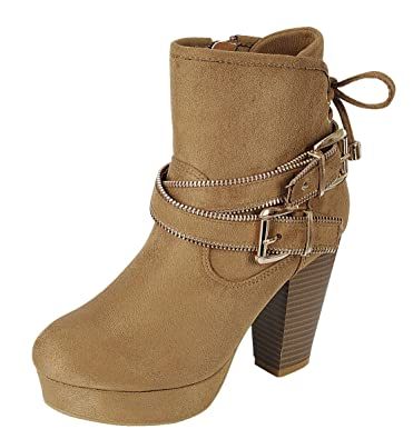 Women's Closed Round Toe Gold Buckle Zipper Strappy Platform Chunky Stacked Block Heel Ankle Bootie